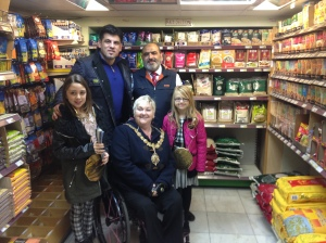 Mayoral Visit to Mill Road November 2014 - Pictured here at Al Amin Stores