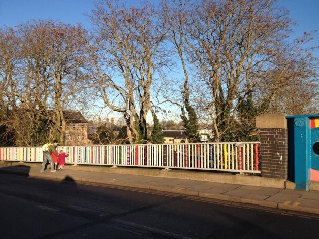 Knit for The Bridge - community yarnbomb project 2014